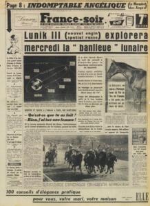 Первая полоса газеты Франс-Суар, в которой публиковался роман «Анжелика»