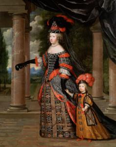 Королева Мария Терезия с сыном Дофином Франции. 1666г. (Чарльз Бобрюн)