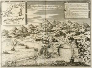 Карта порта Джиджелли и высадка французов