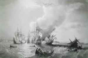 Бой у мыса Ла Гулет, 1665 год. Гравюра XIX века.